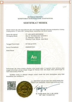 AISI CLEAN AGENT CERTIFICATE
